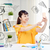gelukkig · jonge · vrouw · student · smartphone · home · mensen - stockfoto © dolgachov
