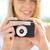 boldog · fiatal · nő · film · kamera · kint · természet - stock fotó © dolgachov