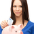 lovely woman with piggy bank and money stock photo © dolgachov