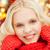 sorridente · vermelho · luvas · cachecol · inverno - foto stock © dolgachov