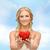 女性 · 小 · 赤 · 中心 · 笑顔の女性 - ストックフォト © dolgachov