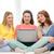 csoport · három · lányok · laptopot · használ · otthon · lány - stock fotó © dolgachov