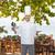 boldog · férfi · szakács · szakács · tart · üres - stock fotó © dolgachov