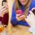 paar · smartphones · drinken · thee · cafe · mensen - stockfoto © dolgachov