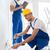 kettő · mosolyog · építők · táblagép · üzlet · épület - stock fotó © dolgachov