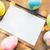 húsvét · levélpapír · tojások · toll · papír · tavasz - stock fotó © dolgachov