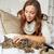 vrouw · knuffelen · kat · ontspannen · sofa · home - stockfoto © dolgachov