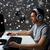 férfi · headset · játszik · számítógép · videojáték · otthon - stock fotó © dolgachov