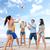 grupo · jovem · amigos · jogar · voleibol · praia - foto stock © dolgachov