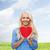güzel · bir · kadın · büyük · kırmızı · kalp · eller - stok fotoğraf © dolgachov