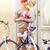 kwiaty · rowery · fotografii · koszyka · kierownica · w · stylu · retro - zdjęcia stock © dolgachov