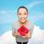 улыбаясь · азиатских · женщину · красный · шкатулке · празднования - Сток-фото © dolgachov