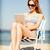 kız · bakıyor · plaj · yaz · tatil - stok fotoğraf © dolgachov