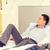 gelukkig · zakenvrouw · bed · hotelkamer · business · technologie - stockfoto © dolgachov