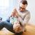 apa · fia · játszik · szórakozás · otthon · család · gyermekkor - stock fotó © dolgachov