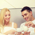счастливым · молодые · улыбаясь · пару · романтические · завтрак - Сток-фото © dolgachov