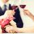 meşgul · çift · şarap · bardakları · resim · restoran · çiçekler - stok fotoğraf © dolgachov