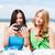 meisjes · foto · cafe · strand · zomer - stockfoto © dolgachov