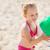 feliz · nina · jugando · inflable · pelota · playa - foto stock © dolgachov