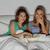 feliz · amigos · pipoca · assistindo · tv · casa - foto stock © dolgachov