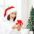 gülümseyen · kadın · yardımcı · şapka · hediye · kutusu · kış - stok fotoğraf © dolgachov