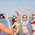 группа · улыбаясь · женщины · пляж · Летние · каникулы - Сток-фото © dolgachov