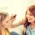 twee · glimlachend · tienermeisjes · make-up · home - stockfoto © dolgachov