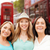 group of happy young women over london city street stock photo © dolgachov