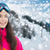 happy young woman in ski goggles over mountains stock photo © dolgachov