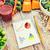 orgánico · hortalizas · mesa · de · madera · cuaderno · menú - foto stock © dolgachov