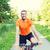 若い男 · ライディング · 自転車 · 公園 · 笑顔 · 肖像 - ストックフォト © dolgachov