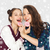 boldog · csinos · tinilányok · fánkok · szórakozás · emberek - stock fotó © dolgachov