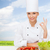 female chef with vegetables showing ok sign stock photo © dolgachov