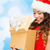 smiling woman in red dress with gift boxes stock photo © dolgachov