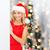 sorridente · mulher · jovem · árvore · de · natal · sessão · sorrir · feliz - foto stock © dolgachov