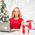 alegre · mulher · compras · on-line · sala · de · estar · internet - foto stock © dolgachov