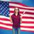 feliz · estudante · menina · diploma · bandeira · americana · educação - foto stock © dolgachov