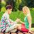 悲しい · 代 · 座って · ベンチ · 公園 · 少女 - ストックフォト © dolgachov