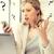 mulher · escrita · escritório · em · casa · casa · caneta · janela - foto stock © dolgachov