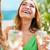 menina · champanhe · vidro · verão · férias · férias - foto stock © dolgachov