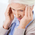 mujer · maduro · edad · dolor · de · cabeza · rubio · aislado - foto stock © dolgachov