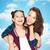 twee · glimlachend · tienermeisjes · ander · haren - stockfoto © dolgachov