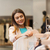 boldog · fiatal · nő · választ · ruházat · bevásárlóközpont · vásár - stock fotó © dolgachov