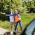 человека · Солнцезащитные · очки · знак · остановки · стороны · Blue · Sky - Сток-фото © dolgachov