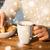 caneca · chocolate · quente · bolinhos · decorado · comida - foto stock © dolgachov