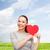 glimlachend · asian · vrouw · Rood · hart · geluk - stockfoto © dolgachov