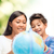 mother and daughter with globe stock photo © dolgachov