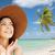 женщину · соломенной · шляпе · улыбающаяся · женщина · улыбаясь - Сток-фото © dolgachov