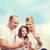 padre · madre · hija · teléfono · celular · blanco · familia - foto stock © dolgachov