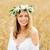 boldog · fiatal · nő · virág · koszorú · gabonapehely · mező - stock fotó © dolgachov
